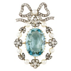 Late Victorian Aquamarine, Diamond and Pearl Pendant