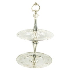 Late Victorian Astro Hungarian Two Tier Silver Cake Muffin Dessert Candy Stand