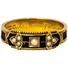 Late Victorian Black Enamel and Pearl 15 Karat Gold Ring