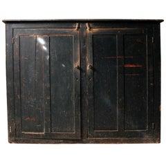 Late Victorian Black Painted Pine Larder Cupboard, circa 1890-1900