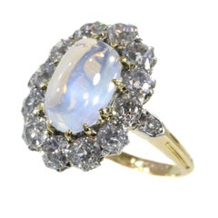 Late Victorian Bluish Moonstone '4.20 Carat' and Diamond '2.16' Carat Ring