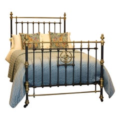 Late Victorian Brass and Cast Iron Antique Bed in Black, MD102