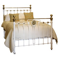 Late Victorian Brass and Cast Iron Antique Bed in Cream, MD104