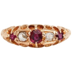 Late Victorian British Ruby and Diamond Ring, 18 Karat Gold with Hang Engraving
