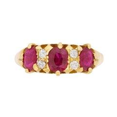 Late Victorian Burmese Ruby and Diamond Ring, circa 1900s