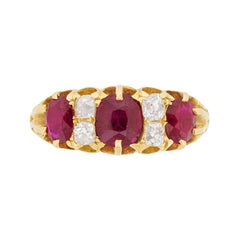 Late Victorian Burmese Ruby and Old Cut Diamond Ring, circa 1900s