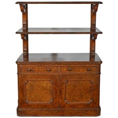 Late Victorian Burr Walnut Cabinet with a Pair of Raised Stands to the Top