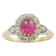 Late Victorian Cabochon Ruby and Diamond Cluster Ring