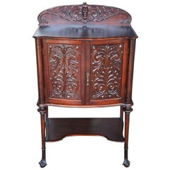 Late Victorian Carved Mahogany Music Cabinet Ball & Claw Foot Backsplash Dry Bar