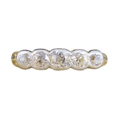Late Victorian Collar Set Five Stone Diamond Ring in 18ct Yellow Gold and White