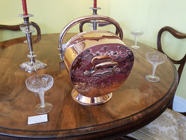 English Late Victorian Copper Coal Scuttle For Sale