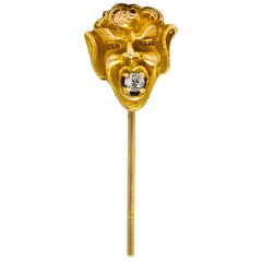 Late Victorian Diamond 10 Karat Gold Greek God Pan Stickpin