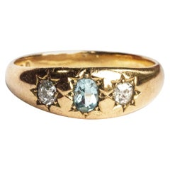 Late Victorian Diamond and Aqua 18 Carat Gold Gypsy Ring