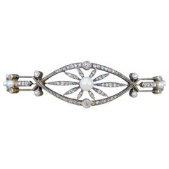 Late Victorian Diamond and Pearl Panel Bracelet in 15 Carat Gold and Silver