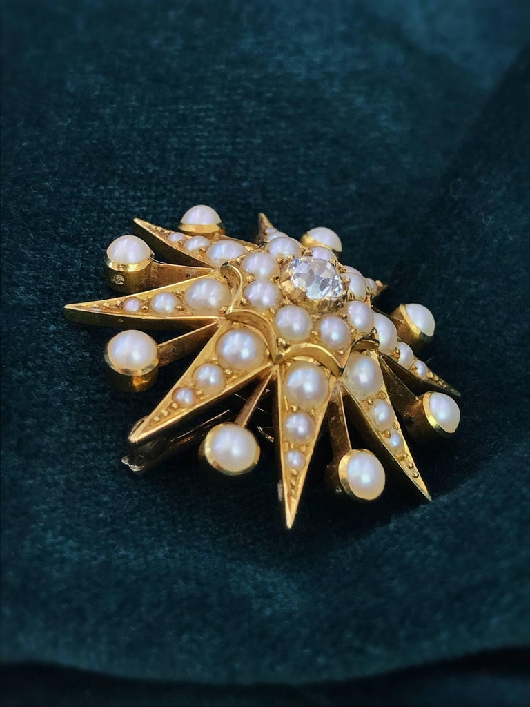 Old European Cut 15K Late Victorian Diamond and Split Pearl Star Brooch or Pendant  For Sale