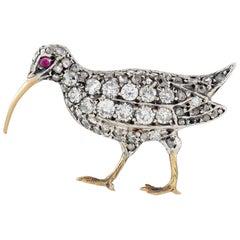 Late Victorian Diamond Bird Brooch