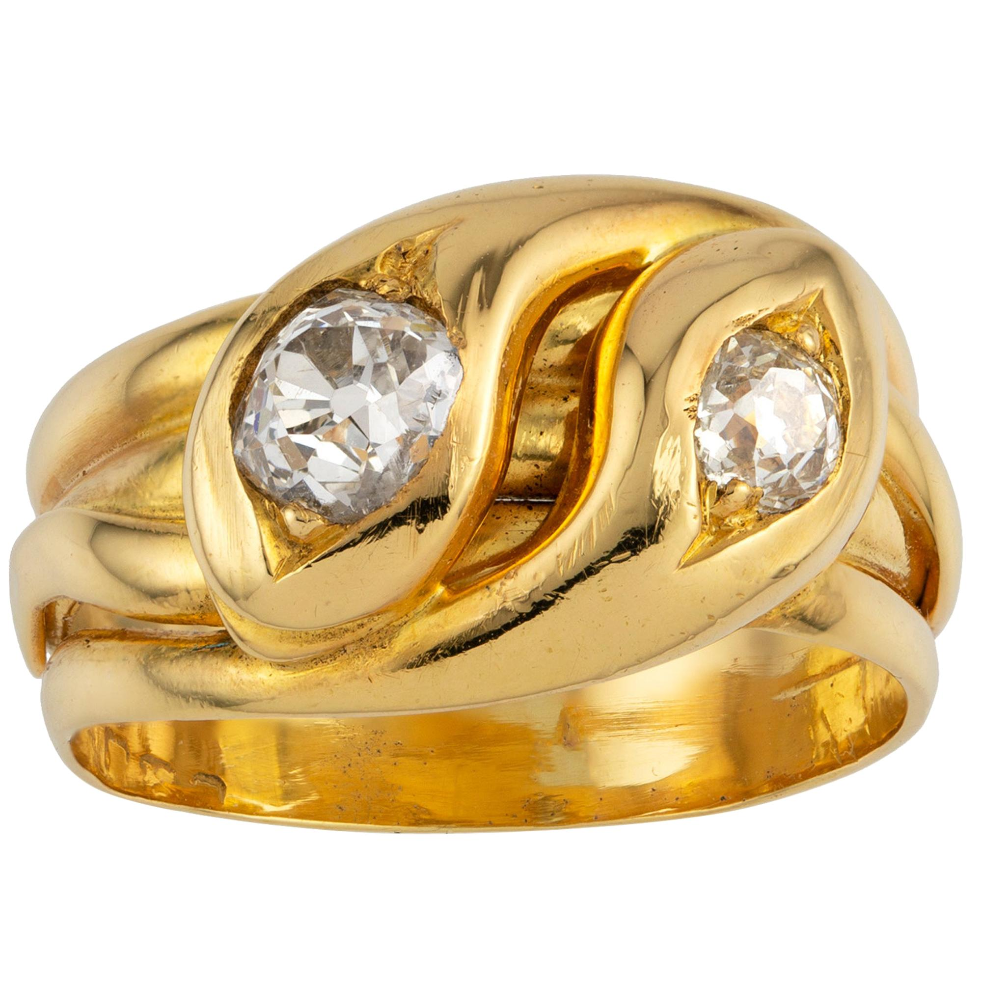Late Victorian Diamond Double Snake Gold Ring