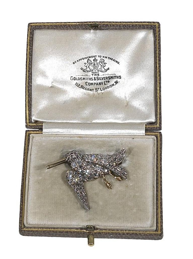 Women's Late Victorian Diamond Gold Silver Snipe Brooch For Sale