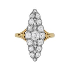 Late Victorian Diamond Marquise Shaped Cluster Ring, circa 1900s