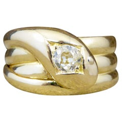 Late Victorian Diamond Set Serpent Ring in 18 Carat Yellow Gold