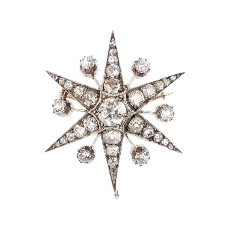Gold Late Victorian Diamond Star Brooch or Pendant  For Sale