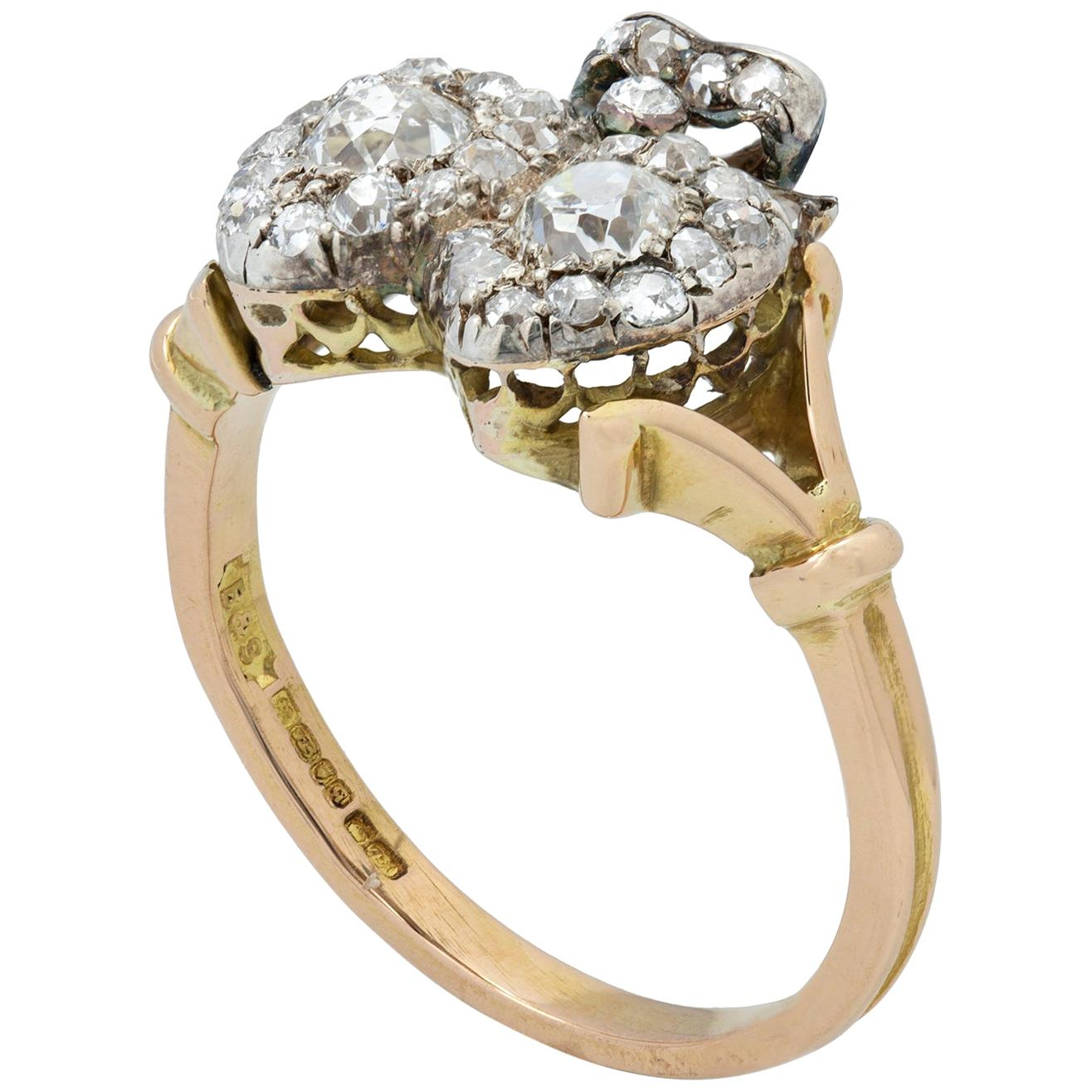 Late Victorian Diamond Twin Heart Ring