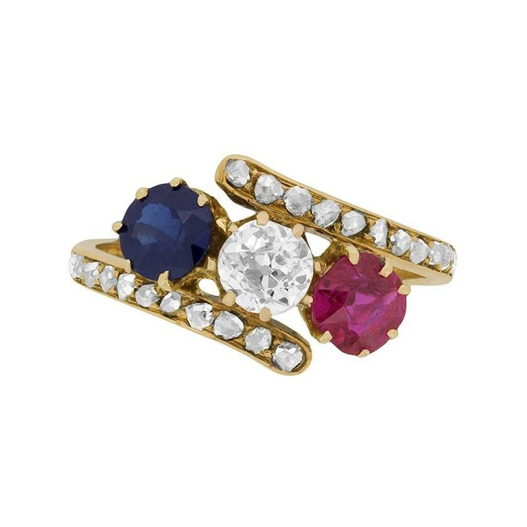 Late Victorian Diamond, Ruby and Sapphire Ring, circa 1900s