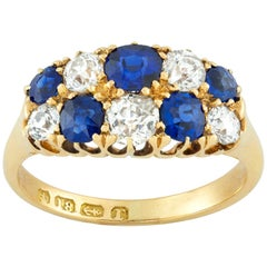 Late Victorian Double-Row Sapphire and Diamond Ring
