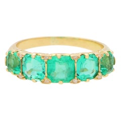 Late Victorian Emerald and Diamond Five Stone Ring Set in 18k Yellow Gold