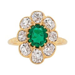 Late Victorian Emerald and Old Cut Diamond 18ct Gold Cluster Ring, Circa 1890