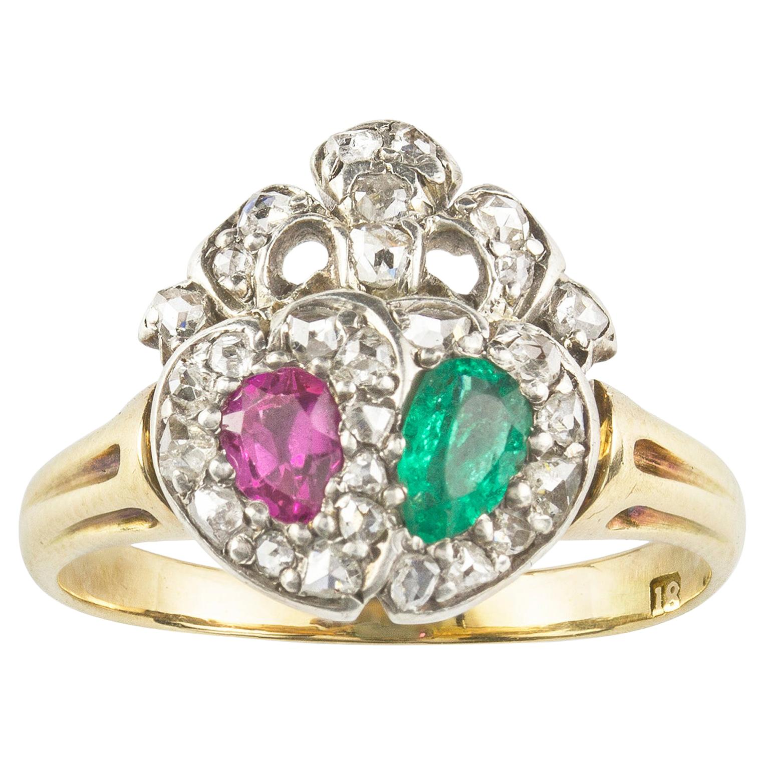 Late Victorian Emerald, Ruby and Diamond Twin Heart Ring