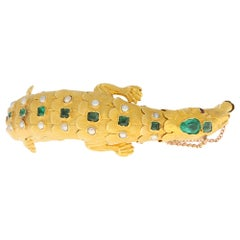 Late Victorian Emerald, Ruby and Pearl Salamander Bracelet in 18k Yellow Gold