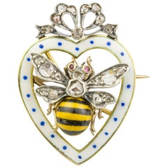 Late Victorian Enamel and Diamond Bee Brooch