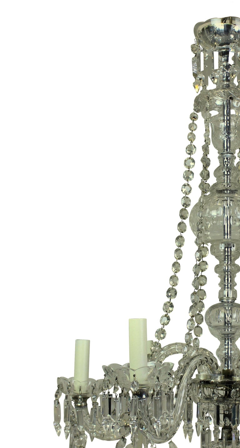 Early 20th Century Late Victorian English Cut Glass Chandelier