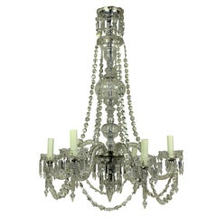 Late Victorian English Cut-Glass Chandelier