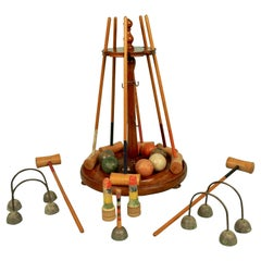 Late Victorian English Miniature Croquet Set Mounted on Stand
