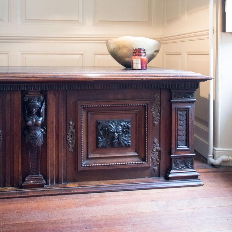 British Late Victorian English Walnut Cabinet For Sale
