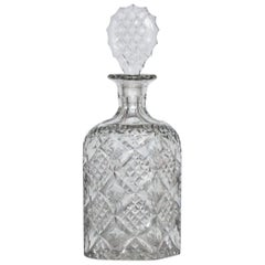 Late Victorian Faceted Cut Crystal Glass Decanter, circa 1885-1890