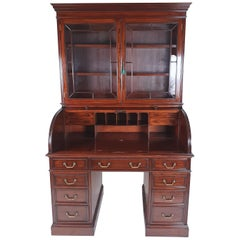 Late Victorian Figured Mahogany Cylinder Bookcase
