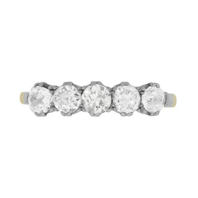 Late Victorian Five-Stone Old Cut Diamond Ring, circa 1900s
