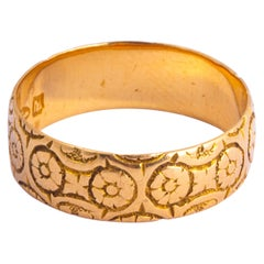 Late Victorian Floral 18 Carat Gold Band
