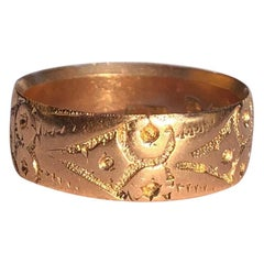 Late Victorian Floral 9 Carat Rose Gold Band