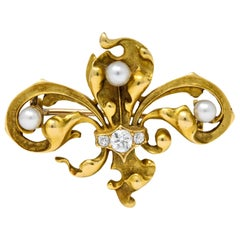 Late Victorian French Fleur-de-Lis Diamond Pearl 18 Karat Gold Brooch
