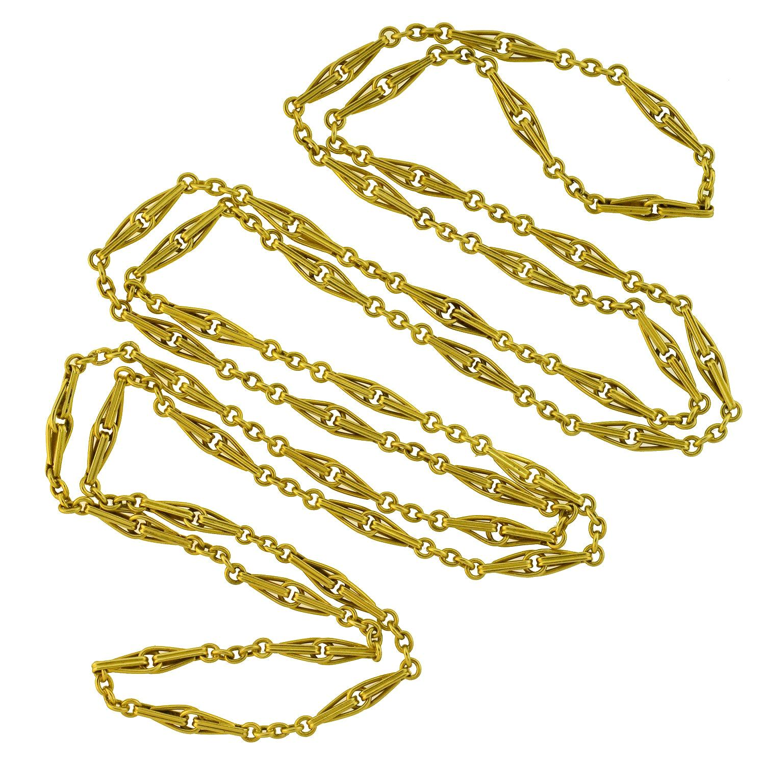 Late Victorian French Yellow Gold Link Chain Necklace