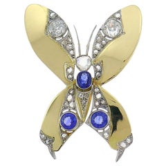 Late Victorian Gold Butterfly Pin Brooch Clip with Diamond and Sapphire