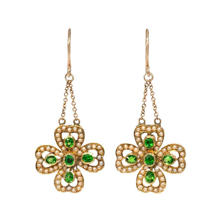 Late Victorian Gold, Demantoid Garnet, and Pearl Four-Leaf Clover Earrings