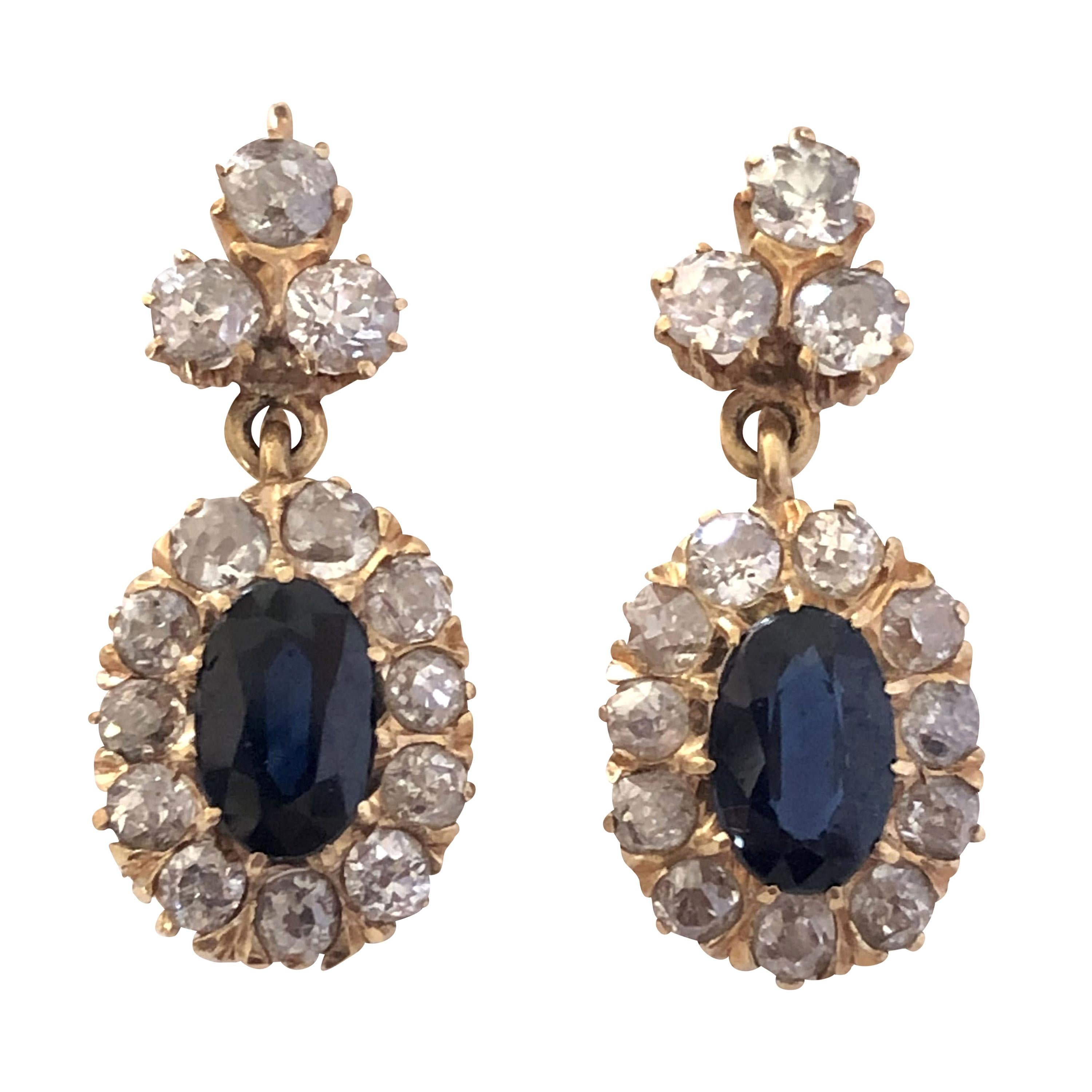 Late Victorian Gold Diamond and Sapphire Classic Earrings