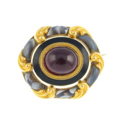 Late Victorian Gold Garnet and Agate Sentimental Brooch