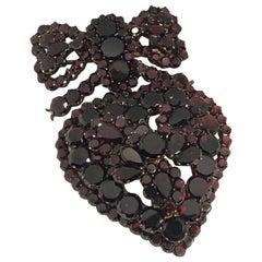 Late Victorian Large Garnet Heart Locket Bow Brooch Pendant