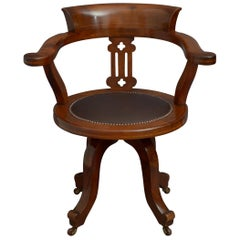 Late Victorian Mahogany and Inlaid Office Chair Desk Chair